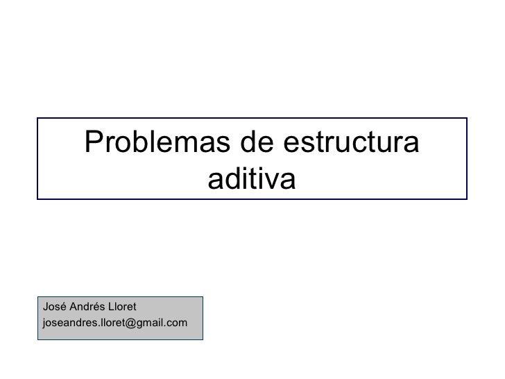 Problemas de estructura aditiva José Andrés Lloret [email_address]