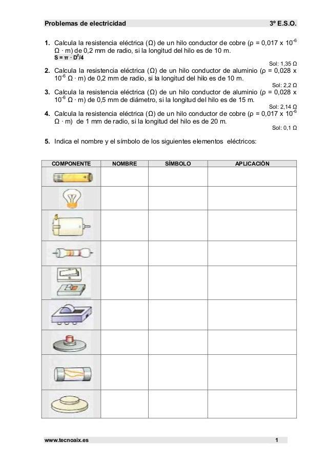 Problemas de electricidad 3º E.S.O. www.tecnoaix.es 1 1. Calcula la resistencia eléctrica (Ω) de un hilo conductor de cobr...