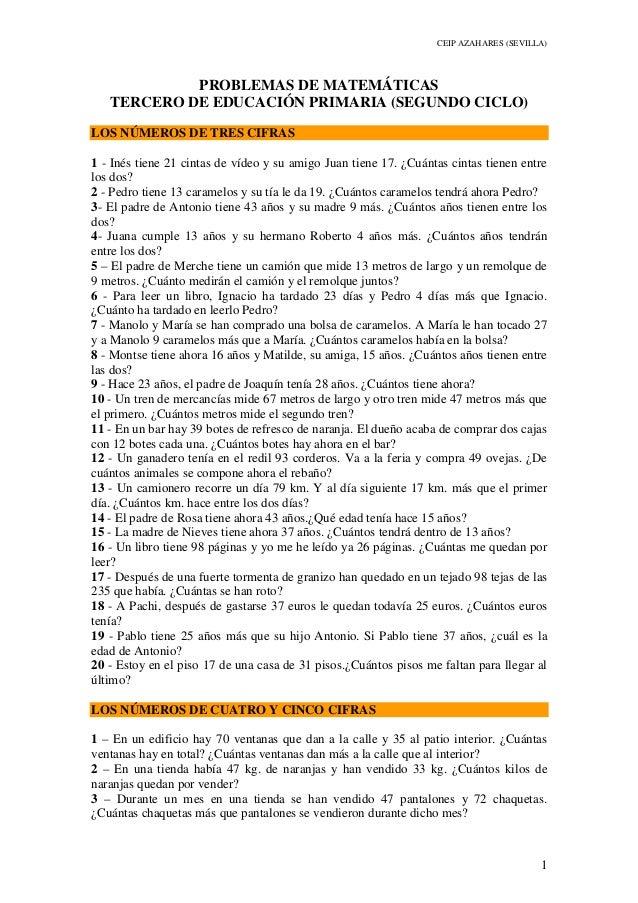CEIP AZAHARES (SEVILLA) 1 PROBLEMAS DE MATEMÁTICAS TERCERO DE EDUCACIÓN PRIMARIA (SEGUNDO CICLO) LOS NÚMEROS DE TRES CIFRA...