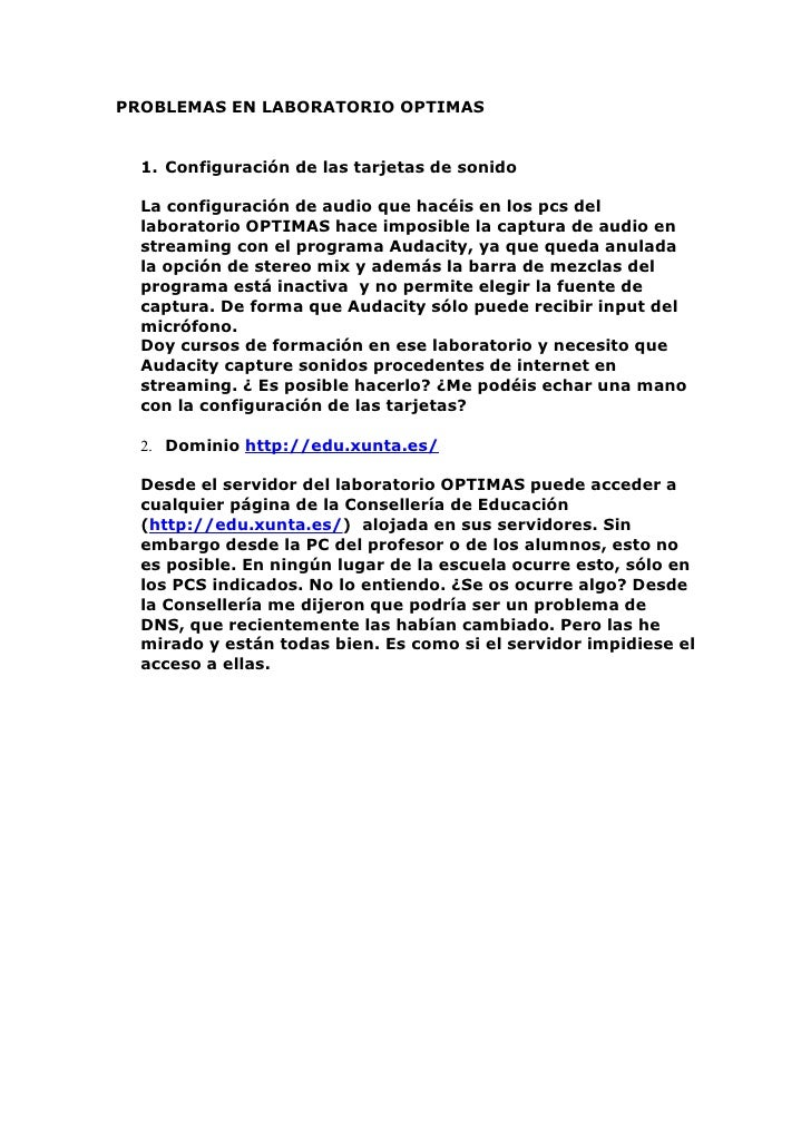 PROBLEMAS EN LABORATORIO OPTIMAS     1. Configuración de las tarjetas de sonido    La configuración de audio que hacéis en...