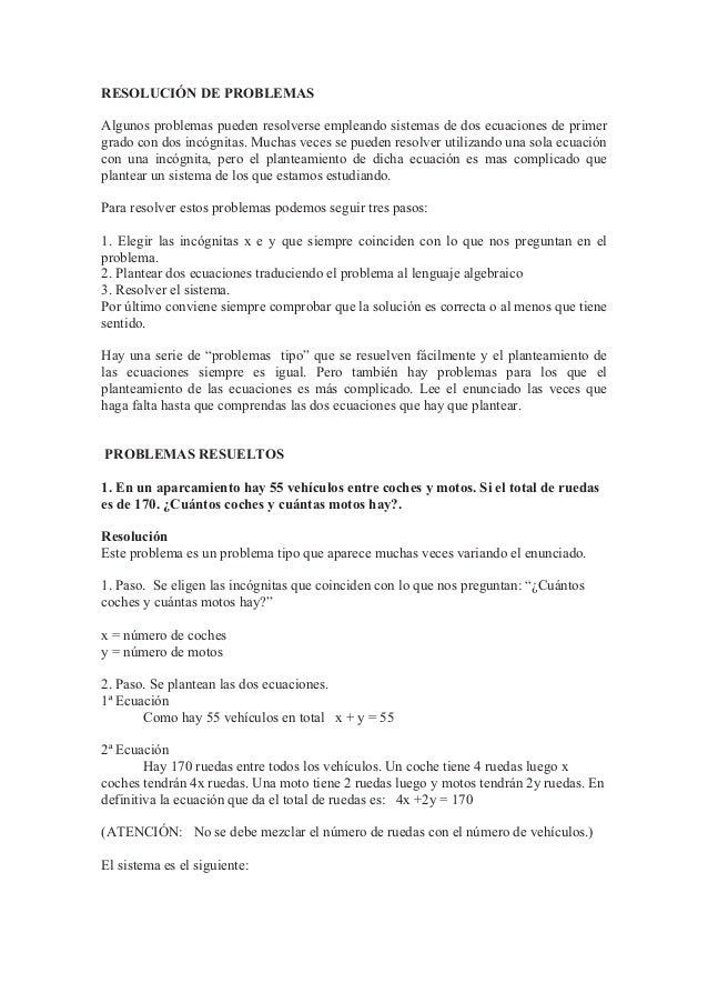 RESOLUCIÓN DE PROBLEMAS Algunos problemas pueden resolverse empleando sistemas de dos ecuaciones de primer grado con dos i...