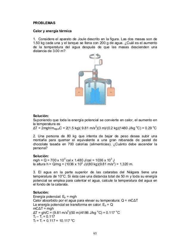PROBLEMAS Calor y energía térmica 1. Considere el aparato de Joule descrito en la figura. Las dos masas son de 1.50 kg cad...