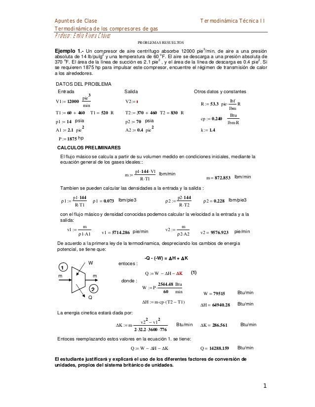Apuntes de Clase Termodinámica de los compresores de gas  Termodinámica Técnica II  Profesor: Emilio Rivera Chávez PROBLEM...