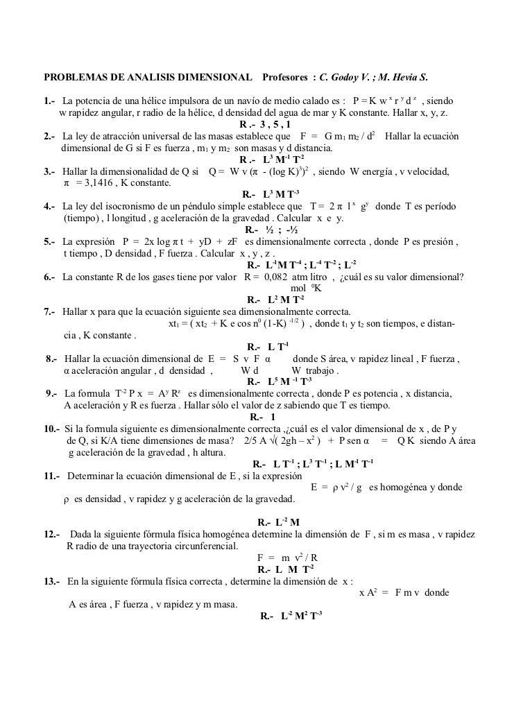 Problemas de analisis dimensional