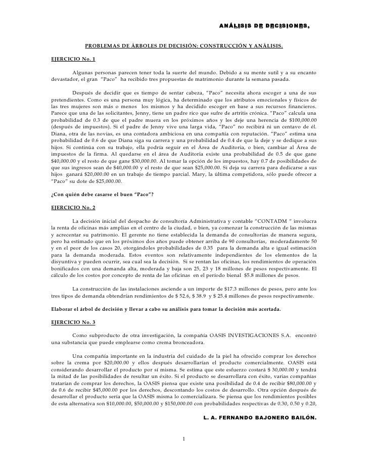 ANÁLISIS DE DECISIONES.              PROBLEMAS DE ÁRBOLES DE DECISIÓN: CONSTRUCCIÓN Y ANÁLISIS.EJERCICIO No. 1        Algu...