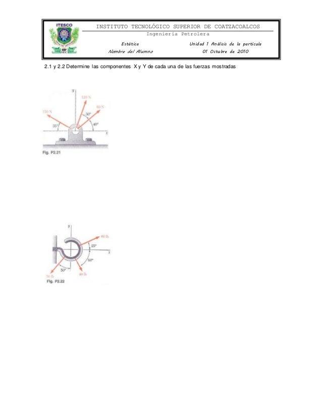 INSTITUTO TECNOLÓGICO SUPERIOR DE COATZACOALCOS Ingeniería Petrolera Estática Unidad 1 Análisis de la partícula Nombre del...