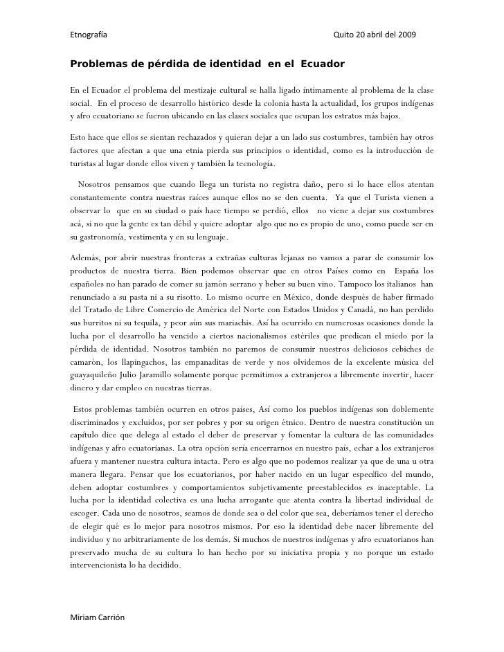Problemas De PéRdida De Identidad  En El  Ecuador
