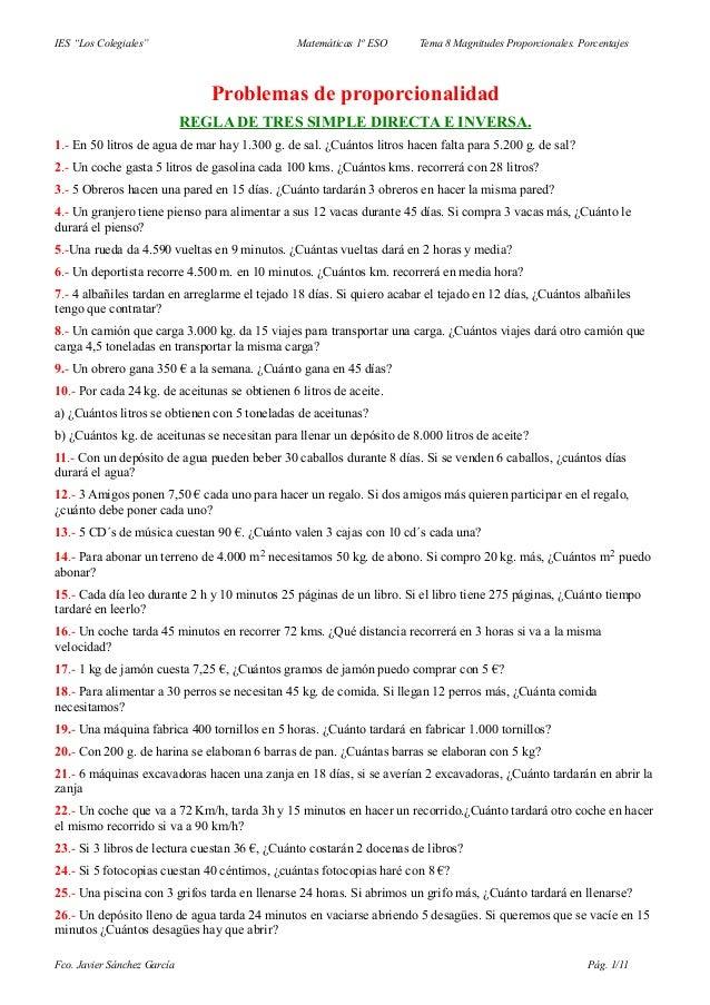 """IES """"Los Colegiales""""                            Matemáticas 1º ESO     Tema 8 Magnitudes Proporcionales. Porcentajes      ..."""