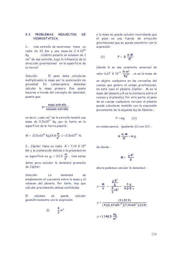 9.3    PROBLEMAS   RESUELTOS             DE    y la masa se puede calcular recordando que      HIDROSTATICA.              ...