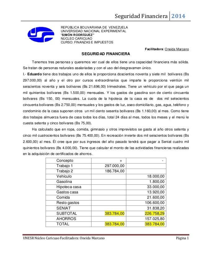 Seguridad Financiera 2014 UNESR Núcleo Caricuao Facilitadora: Oneida Marcano Página 1 REPÚBLICA BOLIVARIANA DE VENEZUELA U...