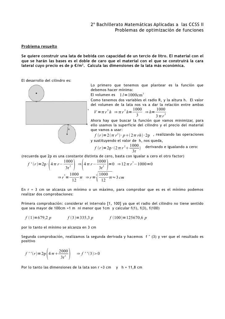 2º Bachillerato Matemáticas Aplicadas a las CCSS II                                                       Problemas de opt...