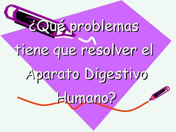 ¿Qué problemas  tiene que resolver el  Aparato Digestivo Humano?