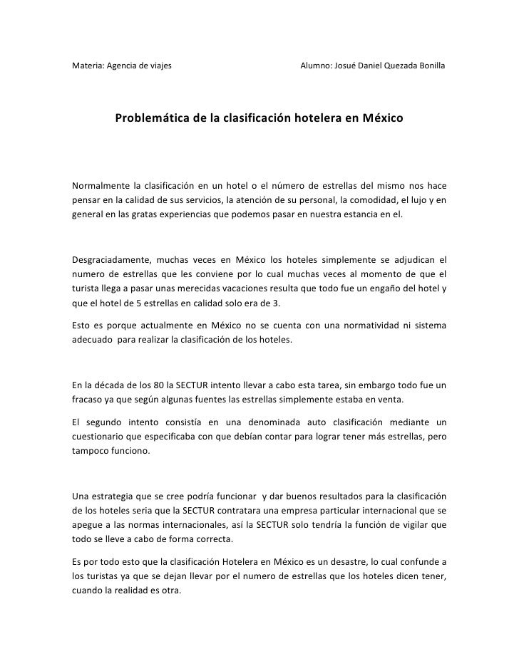 Materia: Agencia de viajes                              Alumno: Josué Daniel Quezada Bonilla           Problemática de la ...