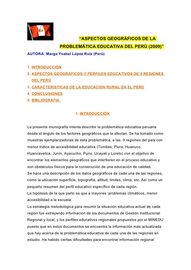 PROBLEMÁTICA EDUCATIVA PERUANA: FACTORES GEOGRÁFICOS