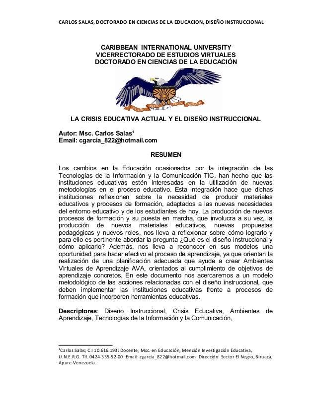 CARLOS SALAS, DOCTORADO EN CIENCIAS DE LA EDUCACION, DISEÑO INSTRUCCIONAL CARIBBEAN INTERNATIONAL UNIVERSITY VICERRECTORAD...