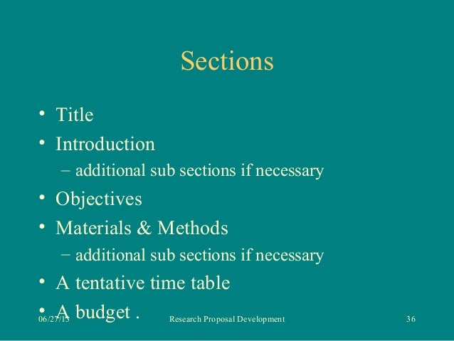 Sections of research proposal