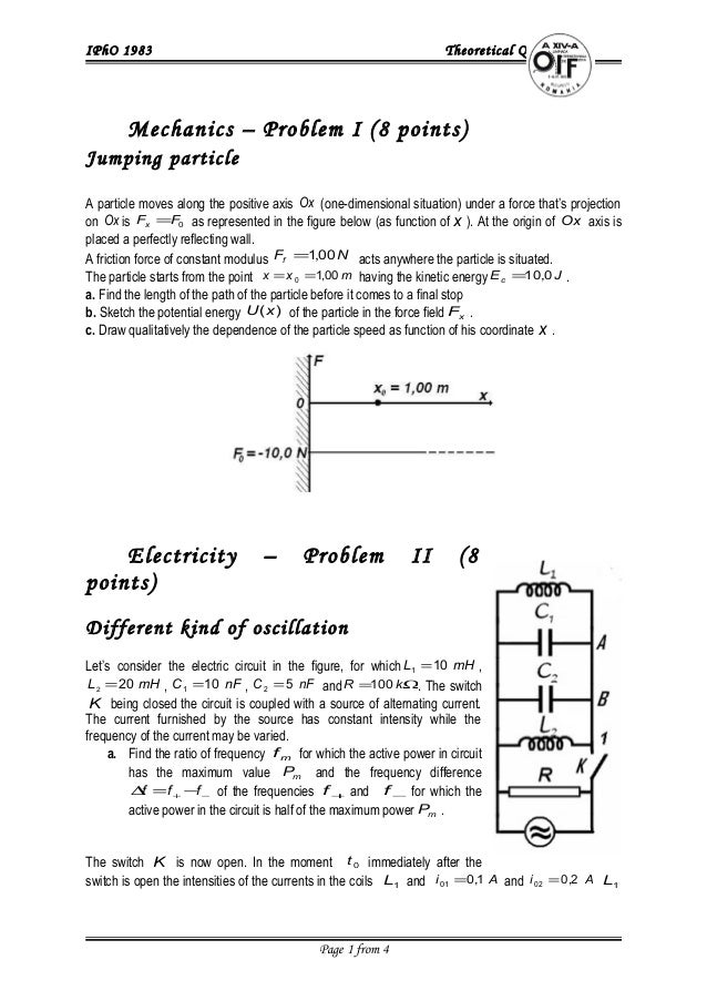 IPhO 1983 Theoretical Questions 1. Mechanics – Problem I (8 points) Jumping particle A particle moves along the positive a...