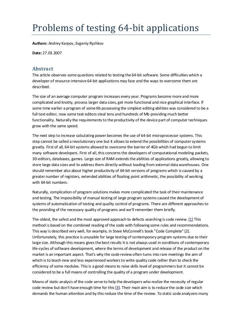 Problems of testing 64-bit applicationsAuthors: Andrey Karpov, Evgeniy RyzhkovDate: 27.03.2007AbstractThe article observes...