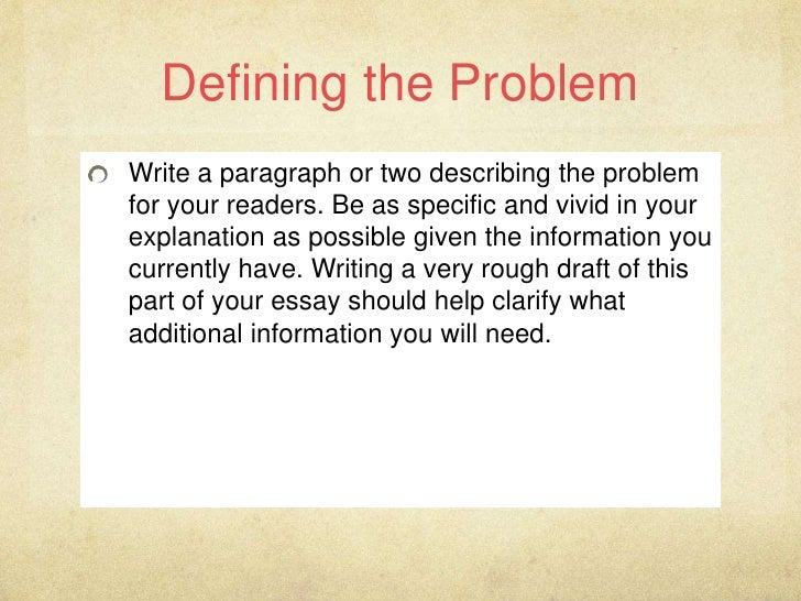 a problem solution essay involves Although the steps of problem solving and decision making  the problem-solving process involves  group familiarity with problem, and need for solution.