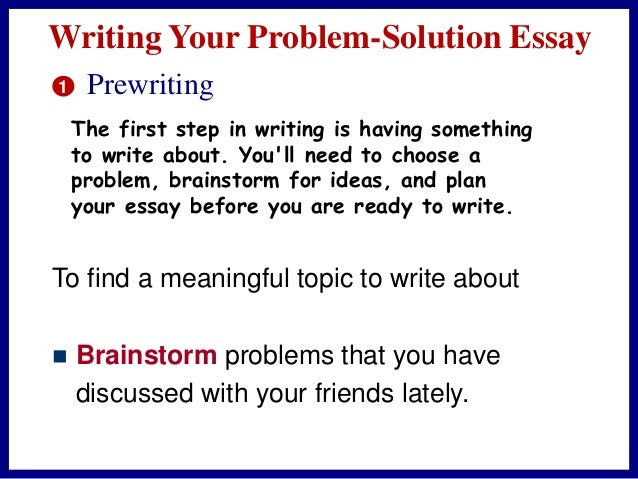 a problem solution essay involves Just a few hours left to hand in his essay and he has not written a word all of a   how does solving this problem involve a reorganisation or restructuring of this.