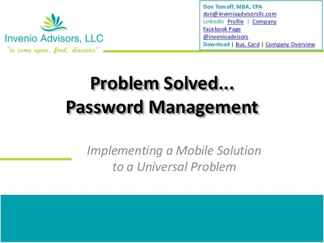 Solving the password management problem...with the iPad.