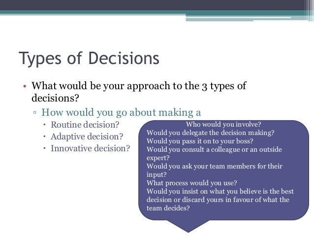 decision making approaches essay