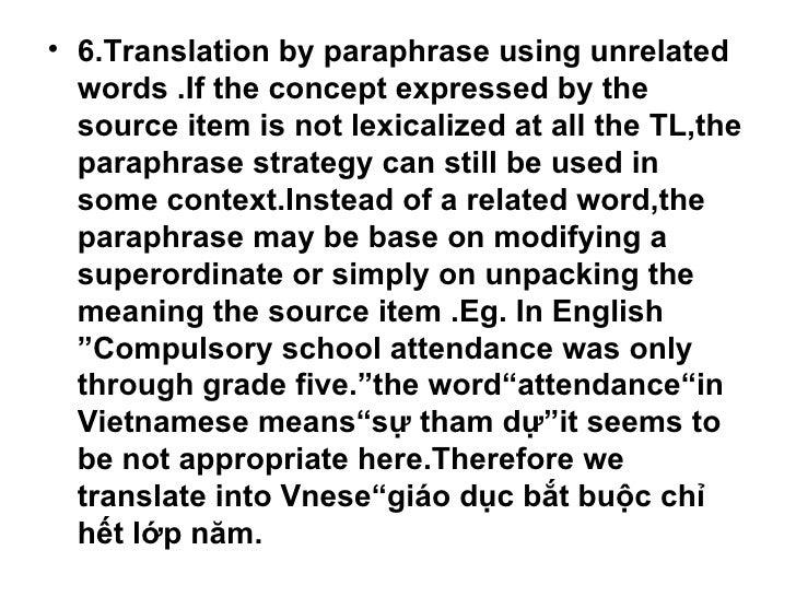 Paraphrase words