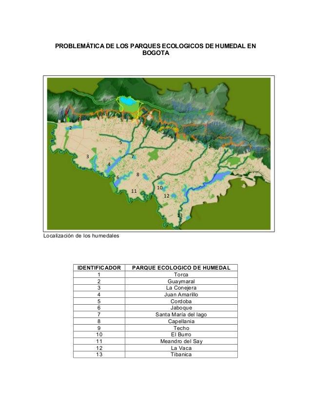 PROBLEMÁTICA DE LOS PARQUES ECOLOGICOS DE HUMEDAL ENBOGOTALocalización de los humedalesIDENTIFICADOR PARQUE ECOLOGICO DE H...