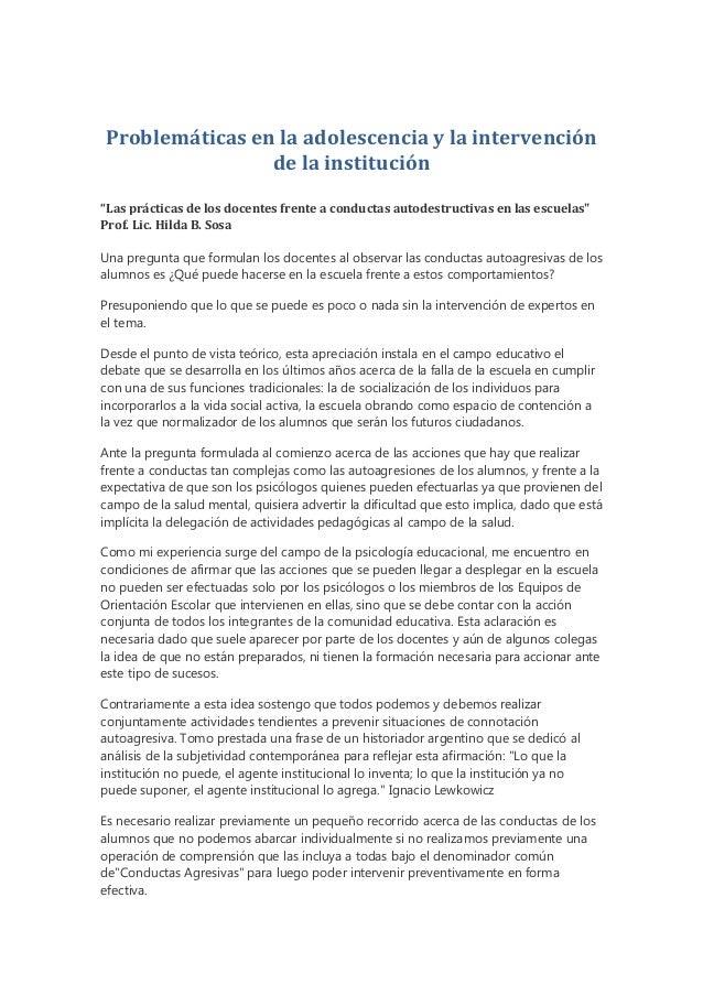 """Problemáticas en la adolescencia y la intervención                de la institución""""Las prácticas de los docentes frente a..."""