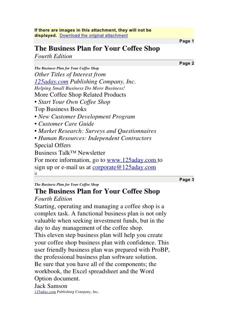 Coffee Shop Business Plan – Executive Summary Sample