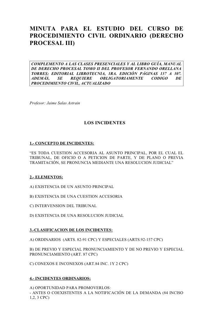 MINUTA PARA EL ESTUDIO DEL CURSO DE PROCEDIMIENTO CIVIL ORDINARIO (DERECHO PROCESAL III)   COMPLEMENTO A LAS CLASES PRESEN...