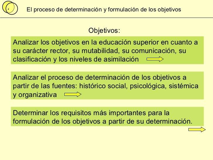 Proceso de Determinación Formulación de los objetivos