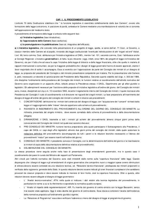 Procedimento legislativo e potere di emendamento