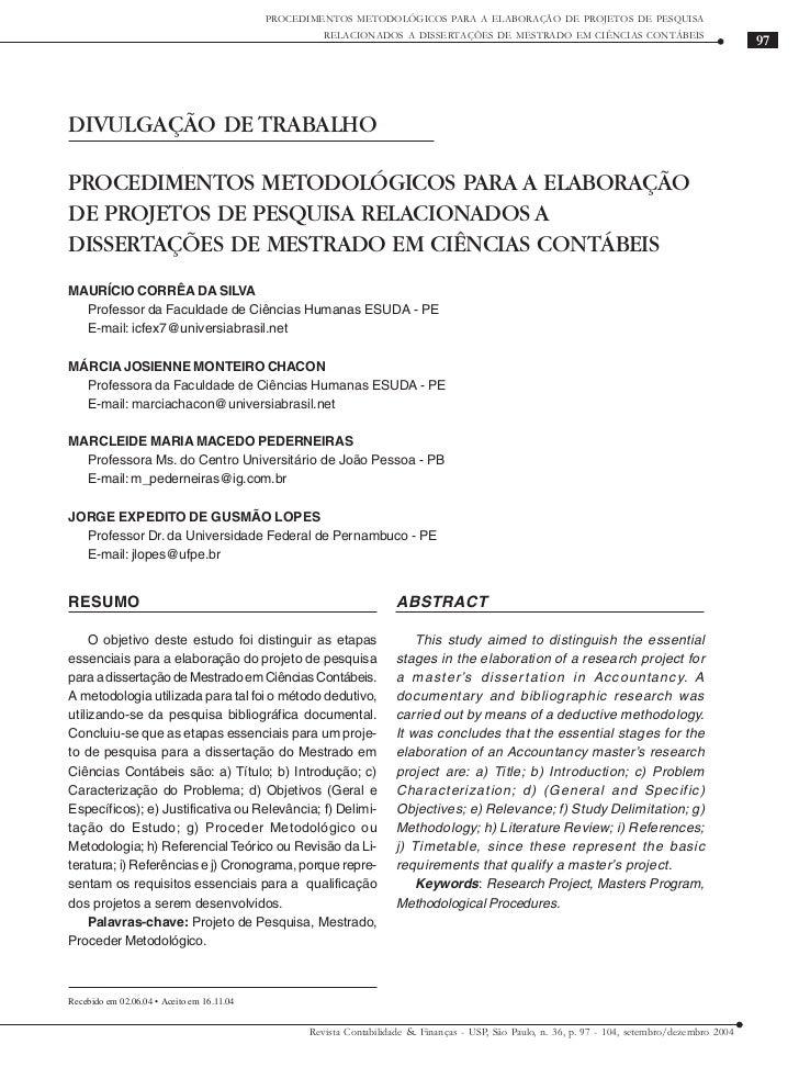 PROCEDIMENTOS METODOLÓGICOS PARA A ELABORAÇÃO DE PROJETOS DE PESQUISA                                                     ...