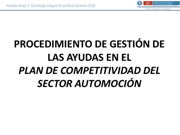 Procedimiento de gestión PLAN DE COMPETITIVIDAD DEL SECTOR AUTOMOCIÓN