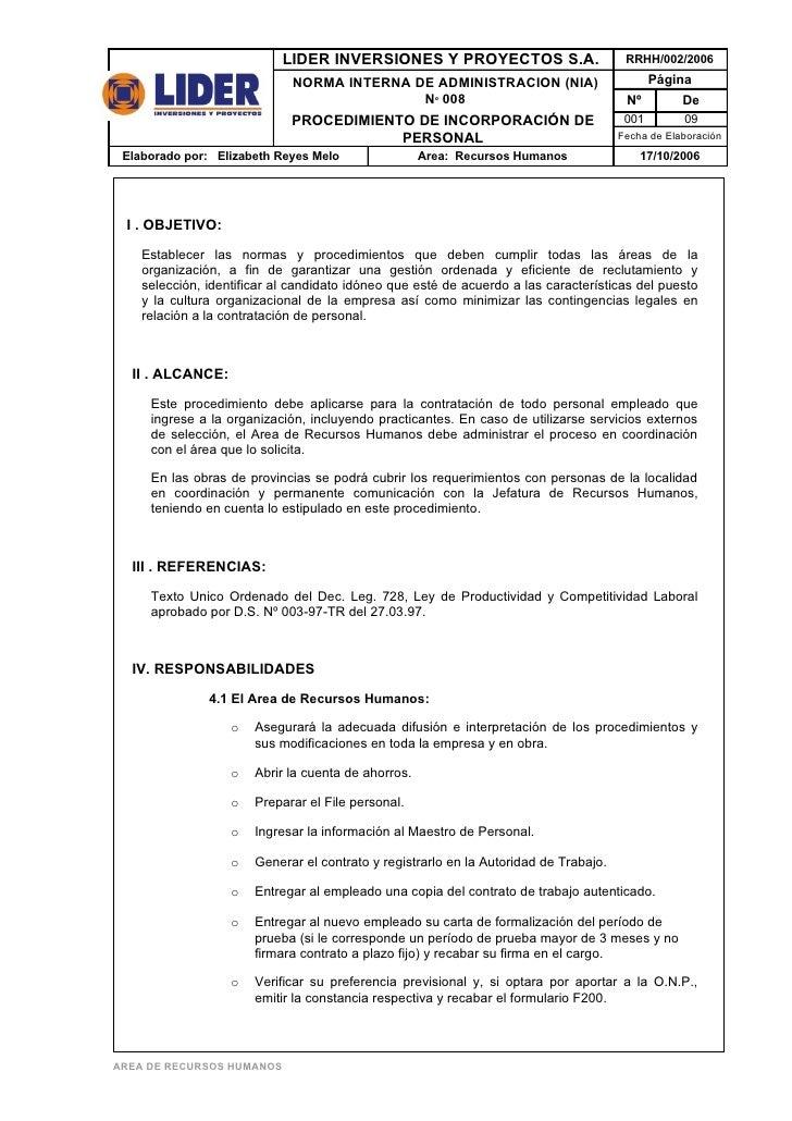 LIDER INVERSIONES Y PROYECTOS S.A.                          RRHH/002/2006                               NORMA INTERNA DE A...