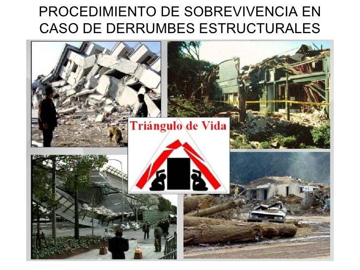 PROCEDIMIENTO DE SOBREVIVENCIA EN CASO DE DERRUMBES ESTRUCTURALES