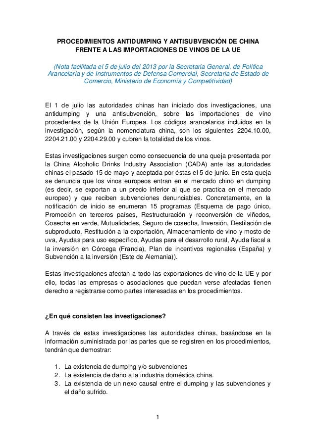 1 PROCEDIMIENTOS ANTIDUMPING Y ANTISUBVENCIÓN DE CHINA FRENTE A LAS IMPORTACIONES DE VINOS DE LA UE (Nota facilitada el 5 ...