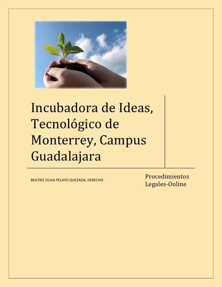 Incubadora de Ideas, Tecnológico de Monterrey, Campus Guadalajara                                         Procedimientos B...