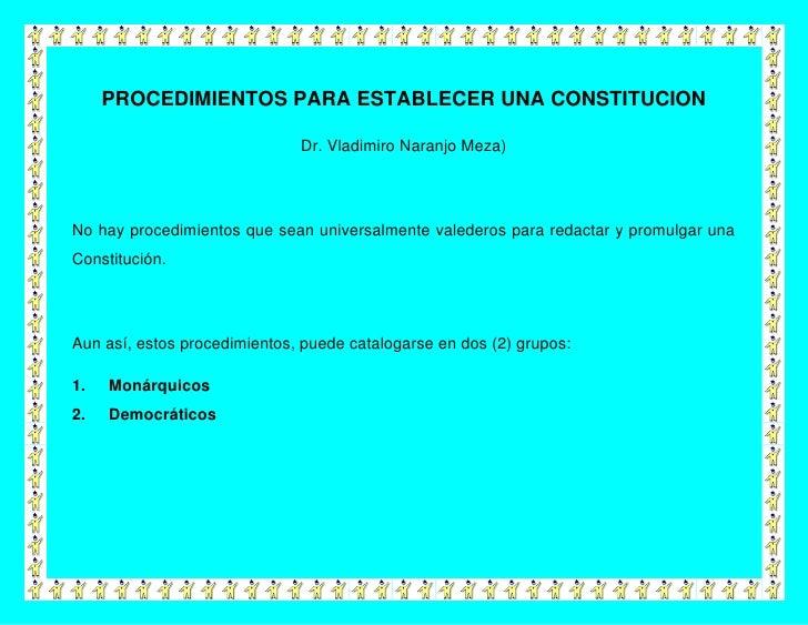 Procedimientos para establecer una constitucion