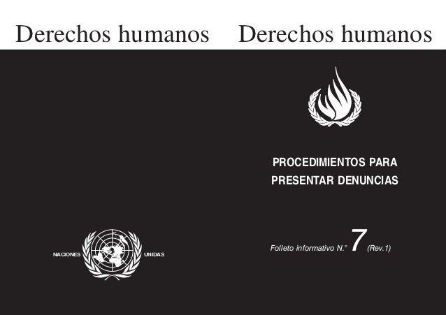 Procedimientos para presentar denuncias en virtud de tratados internacionales de ddhh
