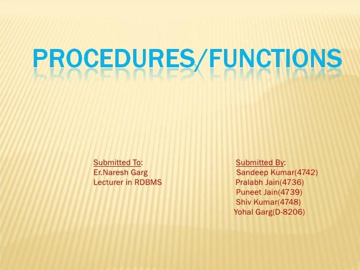 Procedures/functions of rdbms