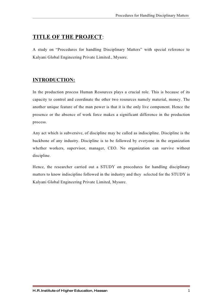 Procedures for handling disciplinary matters in  ktms