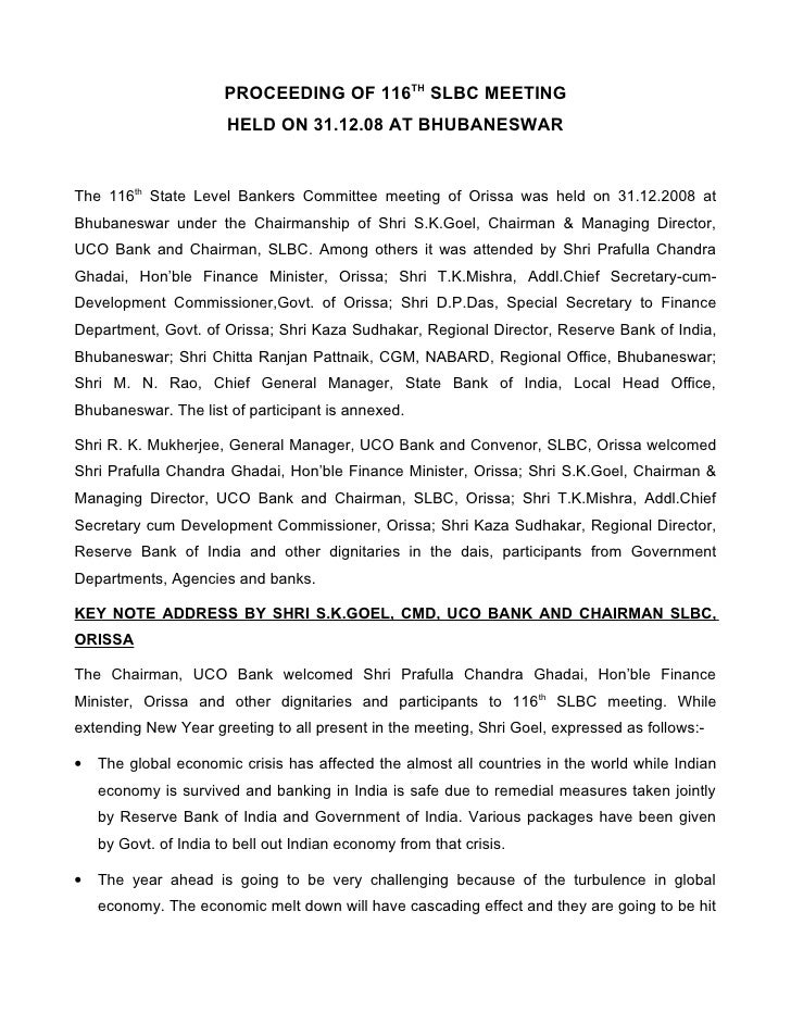 PROCEEDING OF 116TH SLBC MEETING                        HELD ON 31.12.08 AT BHUBANESWAR   The 116th State Level Bankers Co...