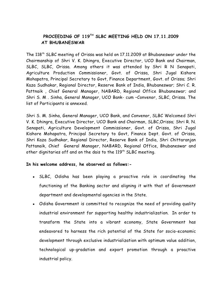 PROCEEDING OF 119TH SLBC MEETING HELD ON 17.11.2009         AT BHUBANESWAR  The 118th SLBC meeting of Orissa was held on 1...