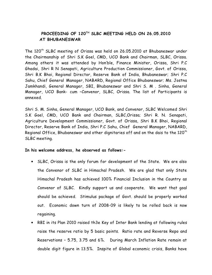 PROCEEDING OF 120TH SLBC MEETING HELD ON 26.05.2010         AT BHUBANESWAR  The 120th SLBC meeting of Orissa was held on 2...