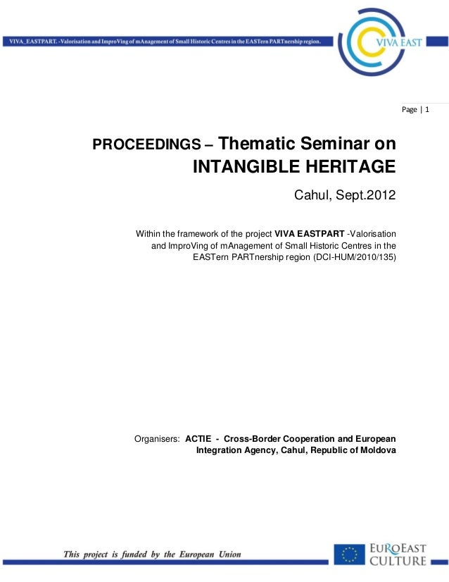 Page   1PROCEEDINGS – Thematic Seminar on                 INTANGIBLE HERITAGE                                          Cah...