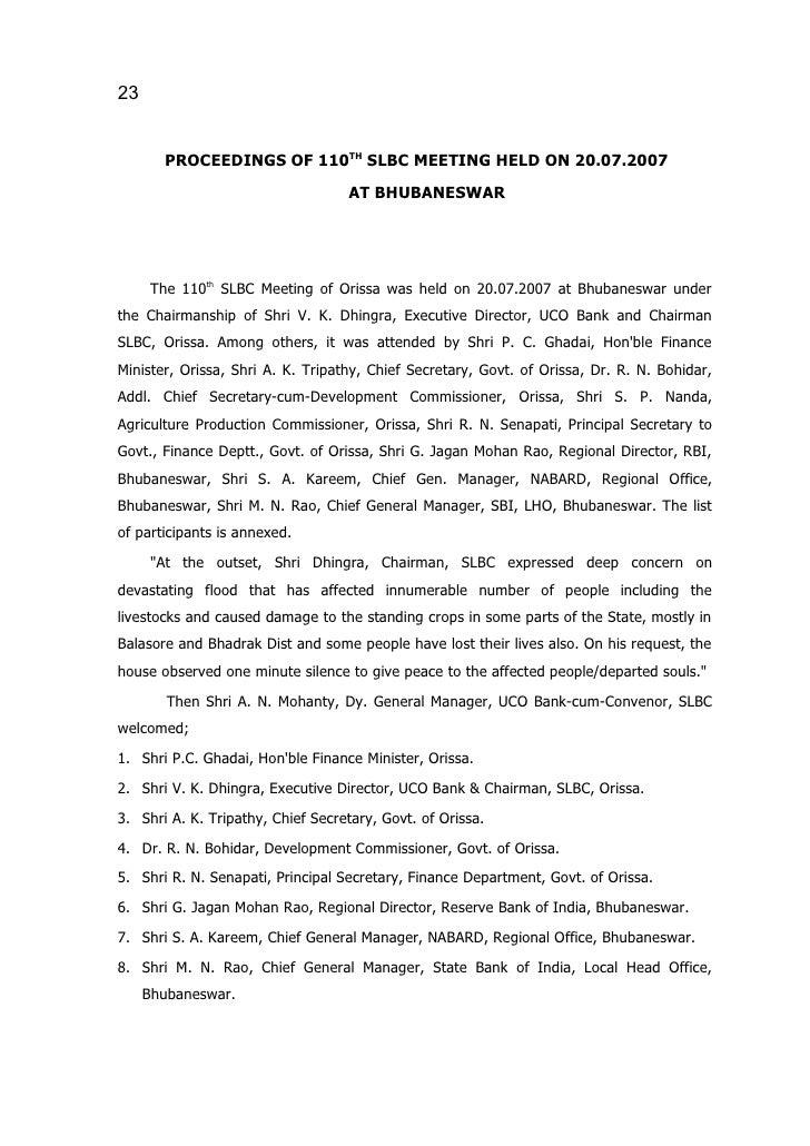 Proceedings of 110th slbc meeting on 20.07.07 at bhubaneswar