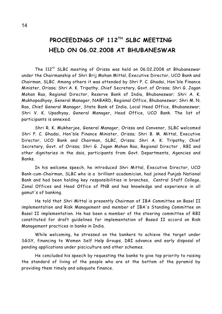 14               PROCEEDINGS OF 112TH SLBC MEETING              HELD ON 06.02.2008 AT BHUBANESWAR          The 112th SLBC ...