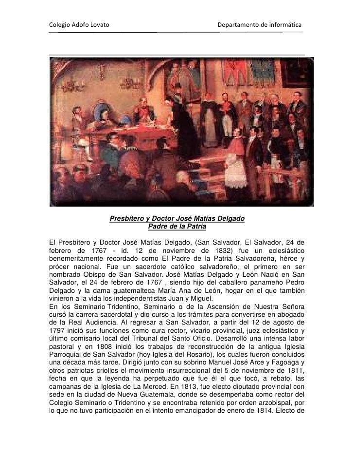 Principio del formulario<br /><br />Presbítero y Doctor José Matías Delgado<br />Padre de la Patria<br />El Presbítero y ...